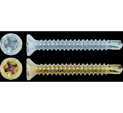 Саморезы оконные, желтый/белый цинк, наконечник - сверло
